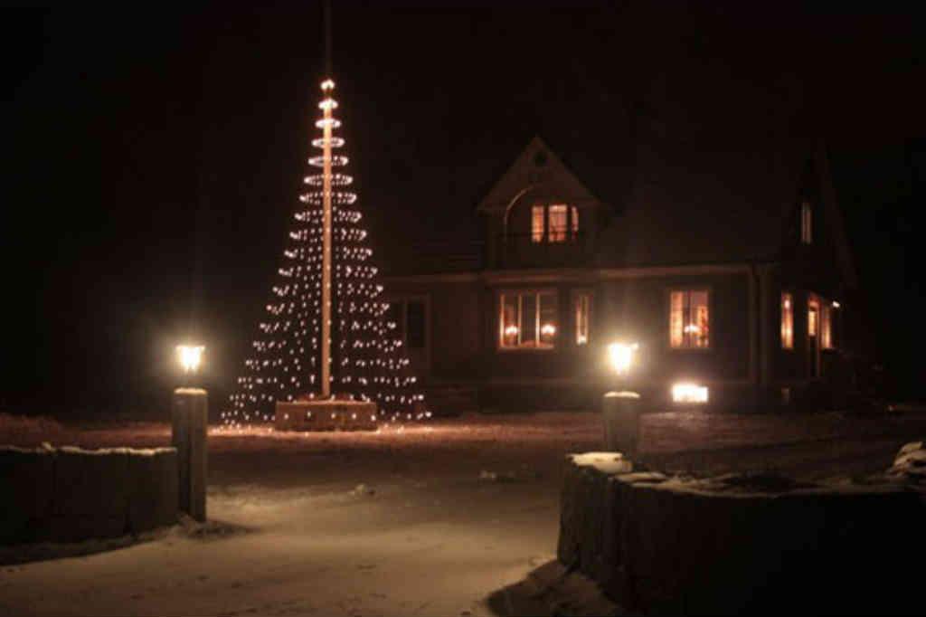 julelys til flagstangen