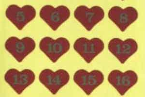 brug søde hjerte klistermærker med numre til pakkekalender gaverne